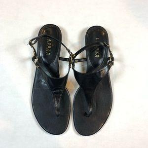 Ralph Lauren Black Leather Thong Sandals Size 9.5